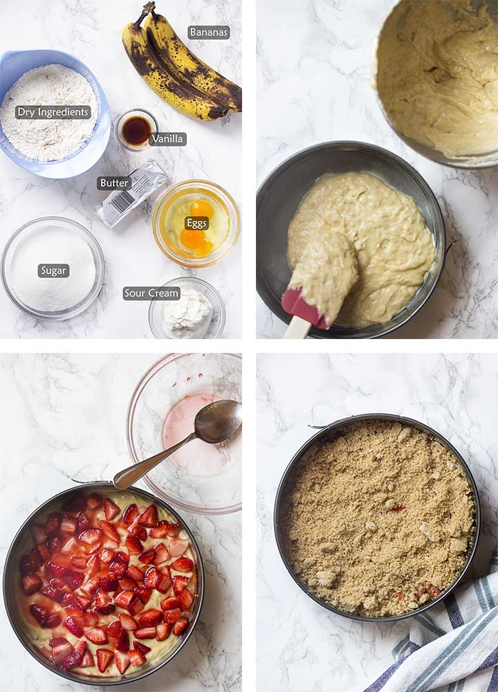 Ingredients and step by step on how to make the cake.