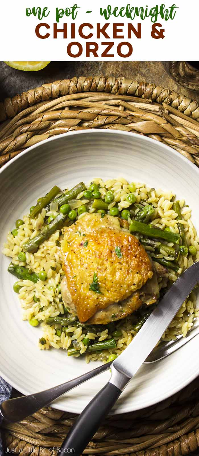 Recipe in a bowl with text overlay - Chicken and Orzo.