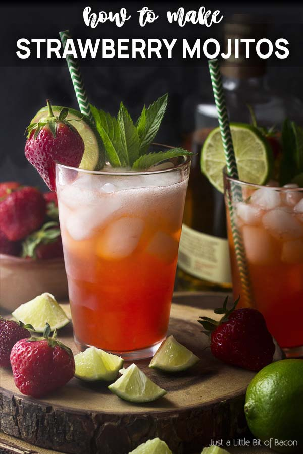 Two pink cocktails in tall glasses with text overlay - Strawberry Mojitos.