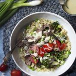 Try my delicious grilled steak and broccoli salad with blue cheese dressing and brown rice. This healthy grain bowl is full of big flavors for an easy summer dinner.   justalittlebitofbacon.com