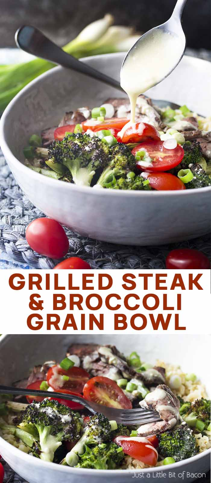 Two views of the salad in a bowl with text overlay - Grilled Steak and Broccoli Grain Bowl.
