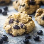 You'll love my easy buttermilk blueberry drop scones! Bursting with fresh berries, moist and tender, and little spicy from the cinnamon. This breakfast treat is quick to make and freezes well. | justalittlebitofbacon.com