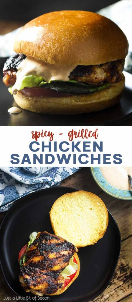 Two views of grilled chicken on a bun with text overlay - Chicken Sandwiches.